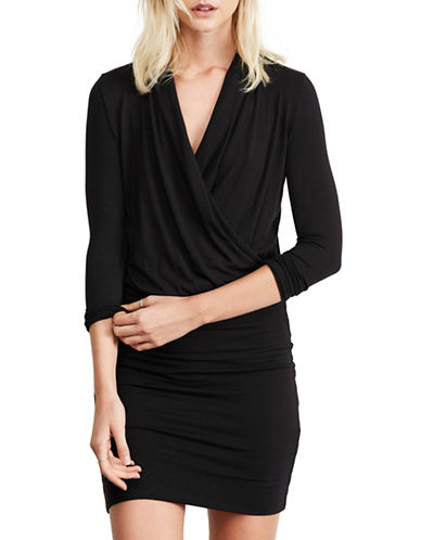 Amour Vert Long Sleeve Wrap Dress-BLACK-X-Small