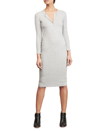 Amour Vert Ribbed Henley Dress-GREY-Medium