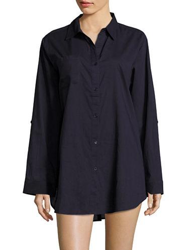 Lori Michaels Roll-Tab Sleeves Oversized Cover-Up Shirt-NAVY-Medium