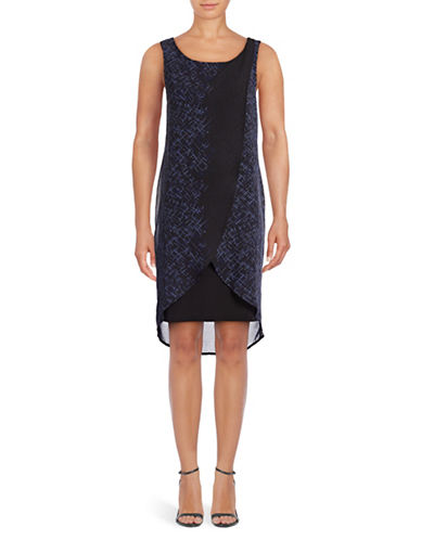 Lori Michaels Sleeveless Chiffon Sheath Dress-BLACK BLUE-Medium