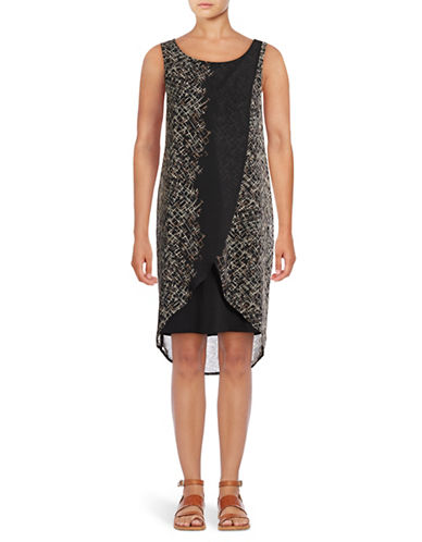 Lori Michaels Sleeveless Chiffon Sheath Dress-BLACK/TAUPE-Small