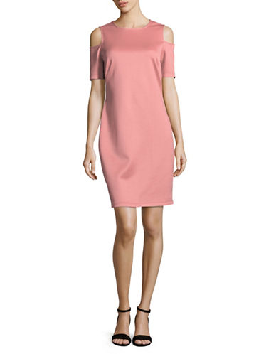 Lori Michaels Cold Shoulder Bodycon Dress-PINK-Medium