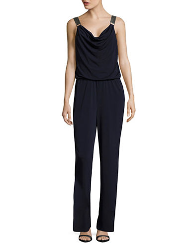 Lori Michaels Metal Mesh Strap Jumpsuit-NAVY-3X