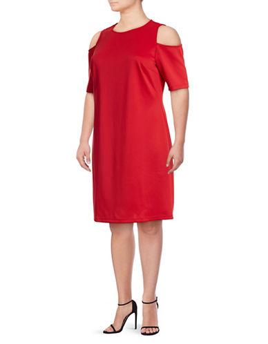 Lori Michaels Cold-Shoulder Sheath Dress-RED-1X