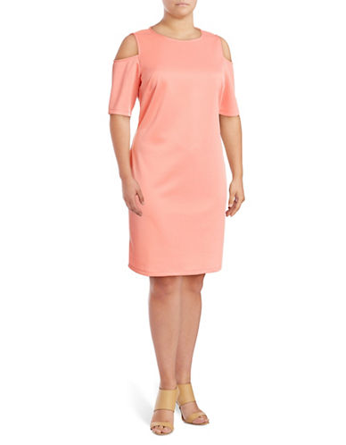Lori Michaels Cold-Shoulder Sheath Dress-PINK-2X
