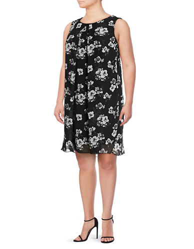 Lori Michaels Sleeveless Floral Trapeze Dress-MULTI-1X