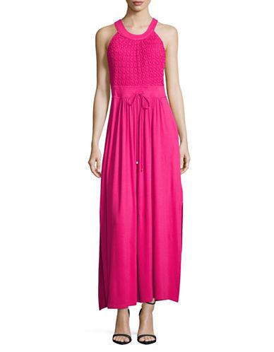 Lori Michaels Halter Crochet Maxi Dress-PINK-Large
