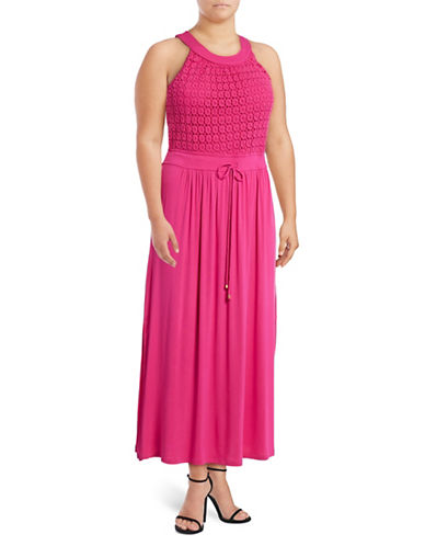 Lori Michaels Halter Crochet Maxi Dress-PINK-1X