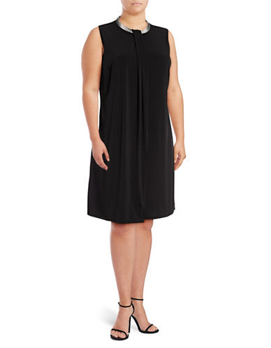 Lori Michaels Folded-Panel Necklace Shift Dress-BLACK-2X