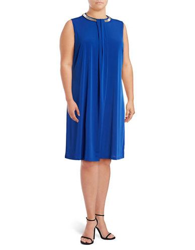 Lori Michaels Folded-Panel Necklace Shift Dress-BLUE-2X