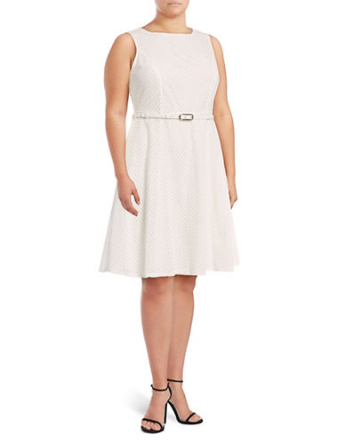Lori Michaels Belted Eyelet Fit-and-Flare Dress-WHITE-3X