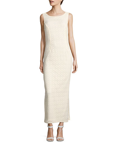 Lori Michaels Crochet Maxi Dress-IVORY-Medium