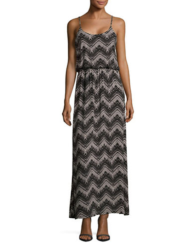 Lori Michaels Printed Blouson Maxi Dress-BLACK PRINT-Large
