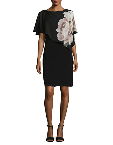 Lori Michaels Floral Chiffon Overlay Dress-BLACK-Medium