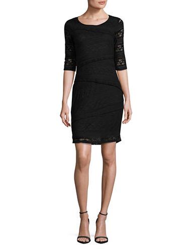 Lori Michaels Stretch Lace Tiered Sheath Dress-BLACK-Large