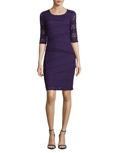 Lori Michaels Stretch Lace Tiered Sheath Dress-PURPLE-Medium