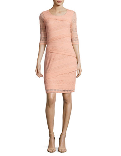 Lori Michaels Stretch Lace Tiered Sheath Dress-PINK-Small
