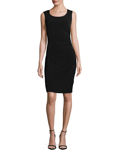 Lori Michaels Ruched Jersey Sheath Dress-BLACK-Medium
