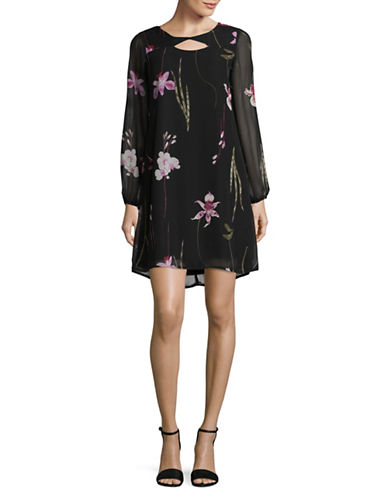 Lori Michaels Floral Chiffon Sheath Dress-ASSORTED-Medium