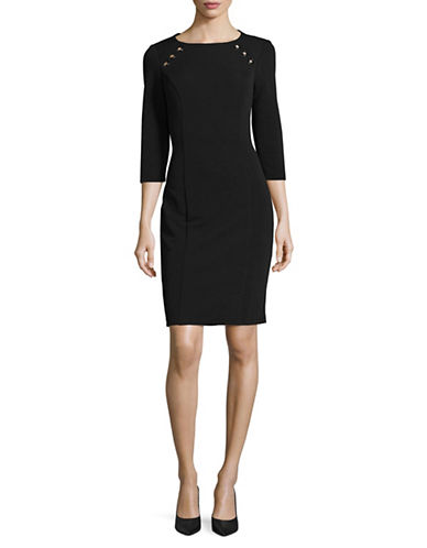 Lori Michaels Classic Sheath Dress-BLACK-Large