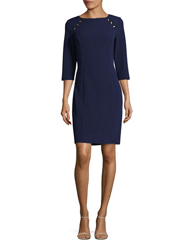 Lori Michaels Classic Sheath Dress-BLUE-Large