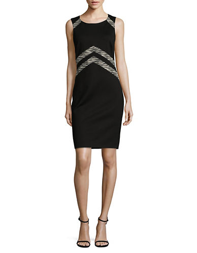 Lori Michaels Chevron Waist Sheath Dress-BLACK-Large