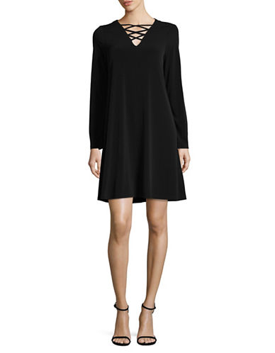 Lori Michaels Criss-Cross Neck Trapeze Dress-BLACK-Small