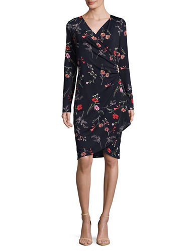 Lori Michaels Floral Faux-Wrap Dress-BLUE-Large