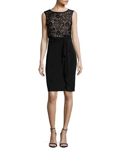 Lori Michaels Ruffled Mini Dress-BLACK-X-Large
