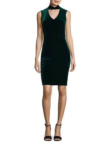 Lori Michaels Velvet Sheath Choker Dress-GREEN-Large