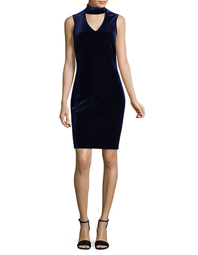Lori Michaels Velvet Sheath Choker Dress-BLUE-X-Large