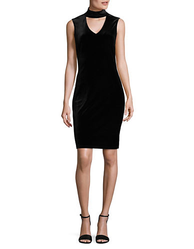 Lori Michaels Velvet Sheath Choker Dress-BLACK-Medium