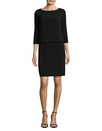 Lori Michaels Embellished Slit Sleeve Blouson Dress-BLACK-Small