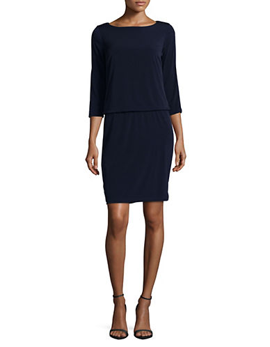 Lori Michaels Embellished Slit Sleeve Blouson Dress-BLUE-Small