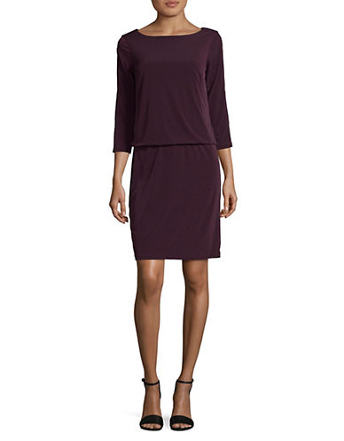 Lori Michaels Embellished Slit Sleeve Blouson Dress-PURPLE-X-Large
