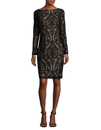 Lori Michaels Damasque Body Con Dress-BLACK-Large