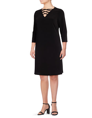 Lori Michaels Crisscross V-Neck Trapeze Dress-BLACK-2X
