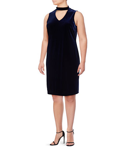 Lori Michaels Velvet Sheath Choker Dress-BLUE-1X