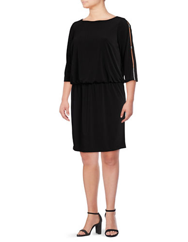 Lori Michaels Embellished Slit Sleeve Blouson Dress-BLACK-1X