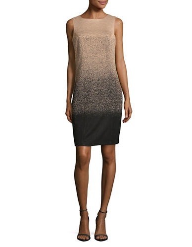 Lori Michaels Ombre Shine Sheath Dress-BLACK/BEIGE-Small