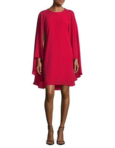 Lori Michaels Caped Sleeveless Chiffon Sheath Dress-RED-Medium