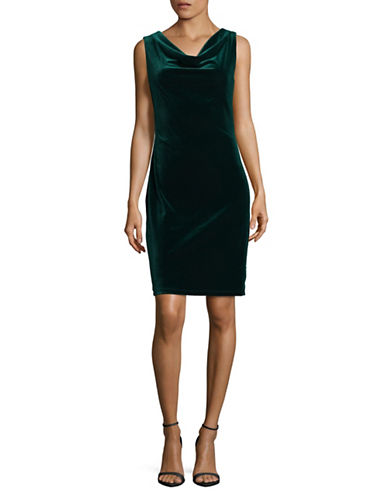 Lori Michaels Cowl Velvet Dress-GREEN-Medium