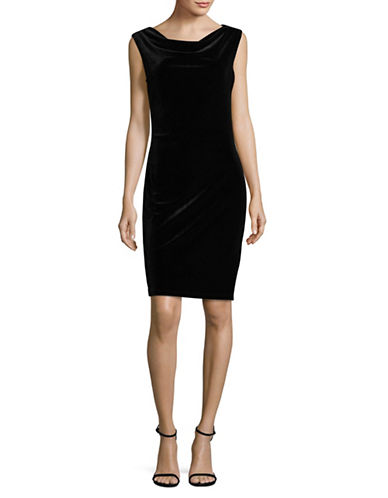 Lori Michaels Cowl Velvet Dress-BLACK-Medium