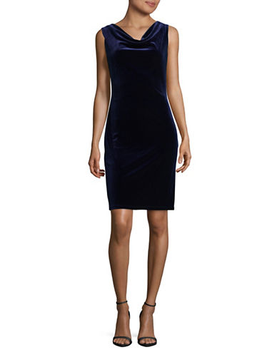 Lori Michaels Cowl Velvet Dress-BLUE-Small