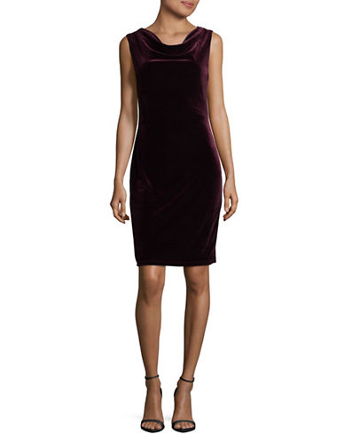 Lori Michaels Cowl Velvet Dress-PURPLE-Medium