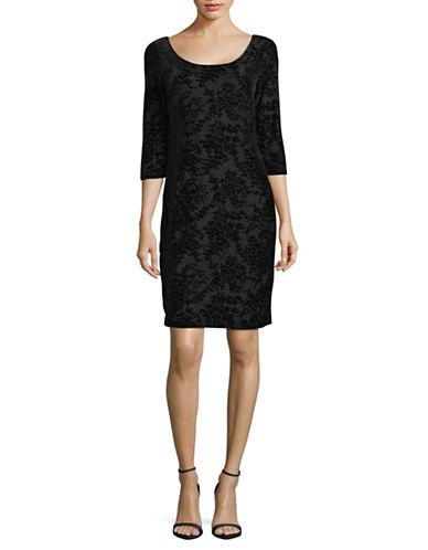 Lori Michaels Burnout Shift Dress-BLACK-Small