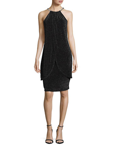 Lori Michaels Glitter Halter Sheath Dress-BLACK-Small