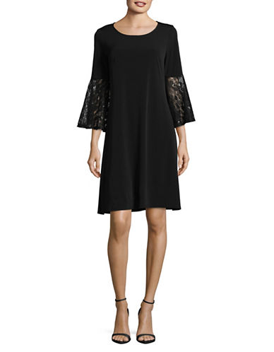 Lori Michaels Lace Sleeve Jersey Shift Dress-BLACK-Medium