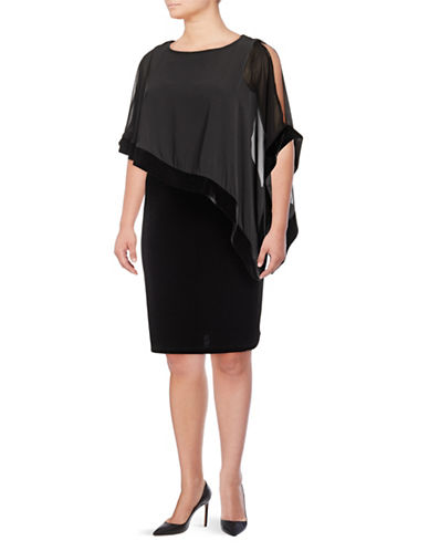 Lori Michaels Cold-Shoulder Velvet Shift Dress-BLACK-1X