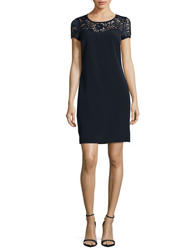Lori Michaels Short Sleeve Lace-Yoke Shift Dress-BLUE-Medium